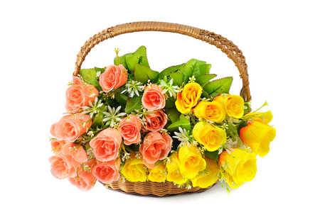 flowers in basket isolate on white background photo