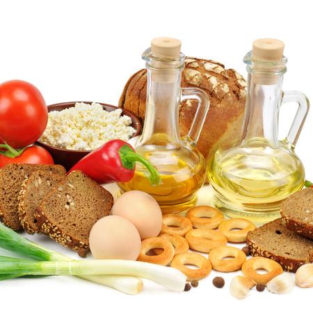 productos naturales: recolecci�n de productos naturales aislados en blanco Foto de archivo