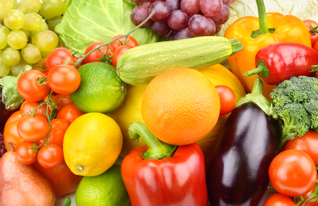 Background of vegetables and fruit set