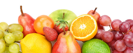 vine pear: set of fruits isolated on white background