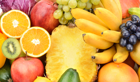 Background of set fruits and vegetables photo