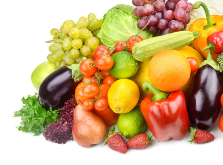 set of fruits and vegetables isolated on white background Stock Photo