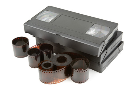 playback: videotapes and film isolated on white background