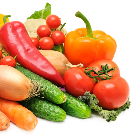 Set of vegetables isolated on white background photo