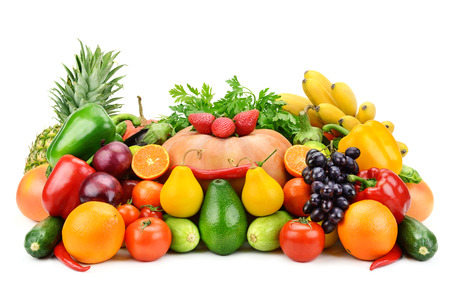 vegetables and fruits isolated on white background photo