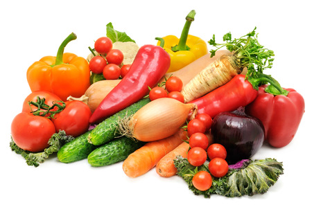 set vegetables isolated on a white background photo