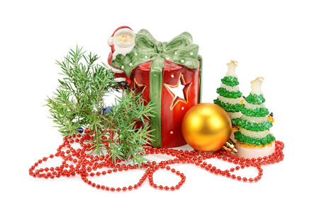 christmassy: Christmas decorations isolated on white background