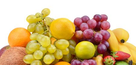 set of fruits isolated on white background photo