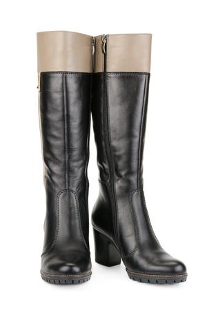Stylish womens boots isolated on white photo
