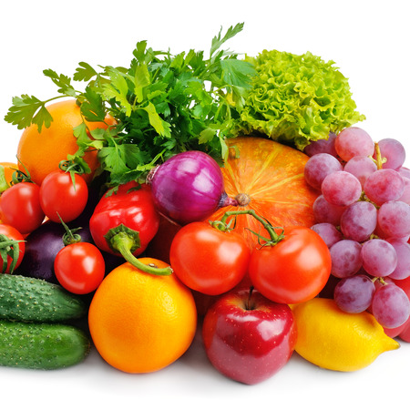 set of fruits and vegetables isolated on white background Banco de Imagens