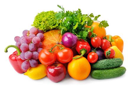 verduras: Conjunto de frutas y verduras aislados sobre fondo blanco Foto de archivo