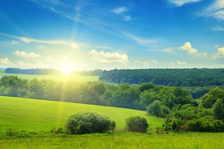 cielo azul: campo verde y el cielo azul con nubes de luz