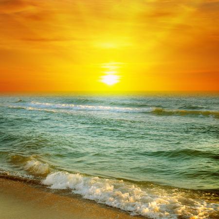 cloudiness: Fantastic sunrise on the ocean