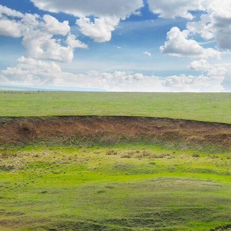 land slide: landslide and soil erosion on agricultural fields