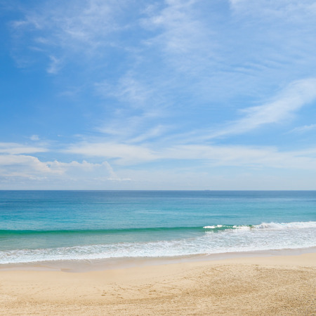 ocean: picturesque ocean coast and blue sky Stock Photo