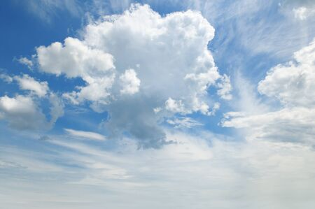 cumulus: light cumulus clouds in the blue sky