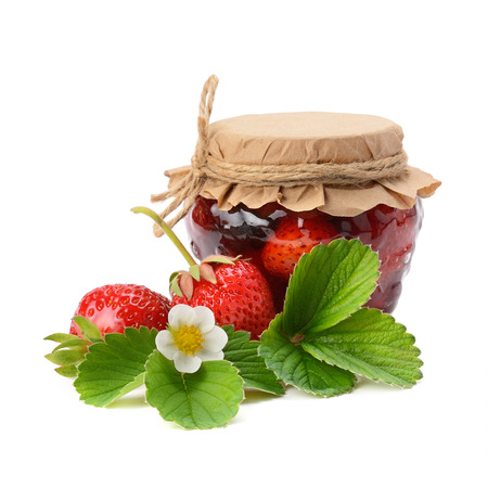 strawberries and jam isolated on white background photo