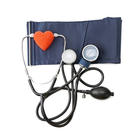 pacemaker: stethoscope and hemopiezometer isolated on white background