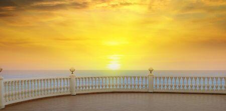 seafront: a beautiful promenade and the sunrise over the sea