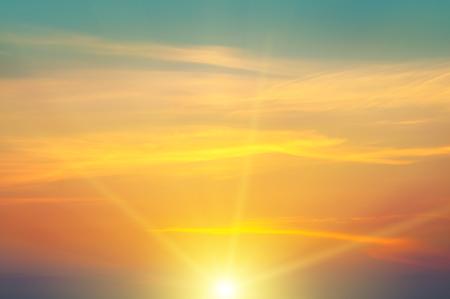 fall sunrise: beautiful sunrise and cloudy sky Stock Photo