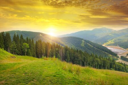 pinery: beautiful mountain landscape and sunrise Stock Photo