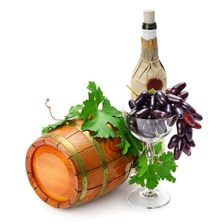 winy: wine barrel, bottle and glass isolated on a white background