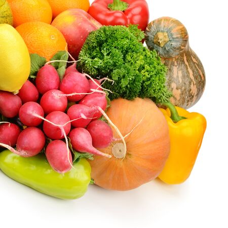 garden stuff: fruits and vegetables isolated on white background