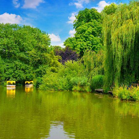 pleasure: picturesque lake and pleasure boats