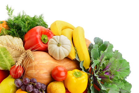 truck crops: fruits and vegetables isolated on white background