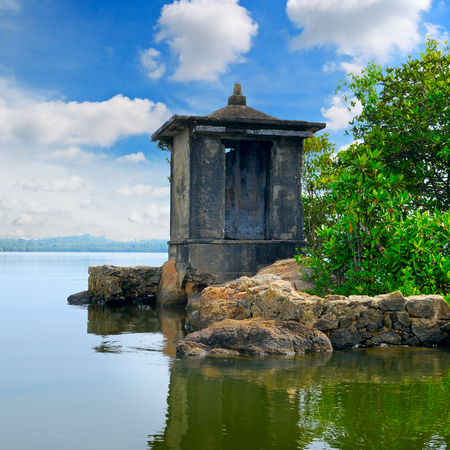 ruined: ruined Buddhist temple on a small island