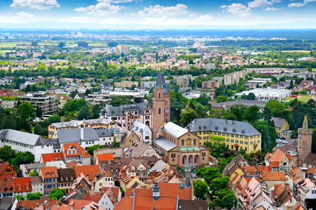 tilt views: Picturesque view of the European city, the top view Stock Photo