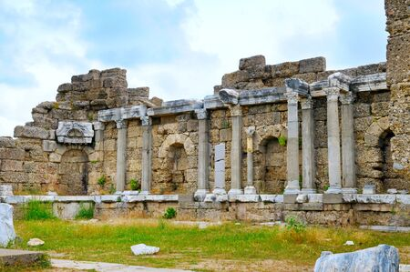 greek columns: fragments of Greek columns (Side, Turkey)