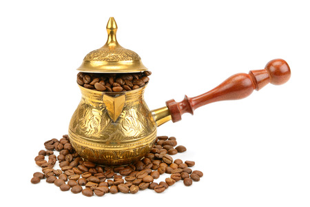 coffeepot: coffeepot and coffee beans isolated on white background