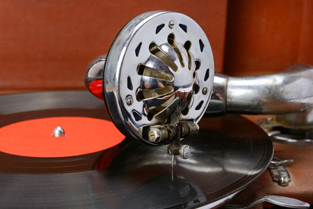 old gramophone and vinyl record Stock Photo