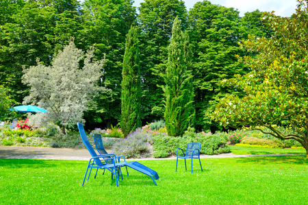 daybed: beautiful summer park with lawn and recliner