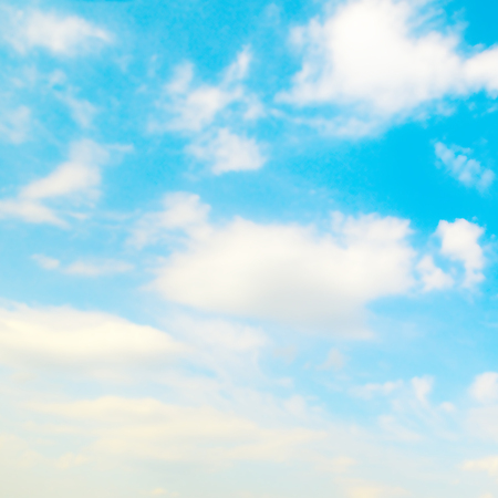 blue sky, cirrus and cumulus clouds Stock Photo