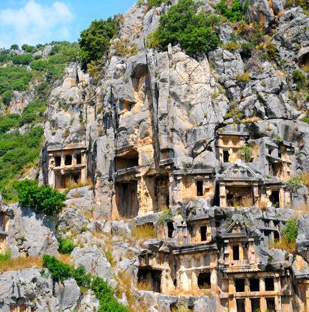 tumbas: lycian tombs in Demre (Myra), Turkey
