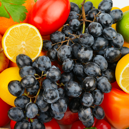 beautiful background of a set of vegetables and fruits Stock Photo