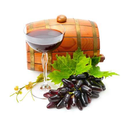 glass of wine and barrel isolated on white background Stock Photo
