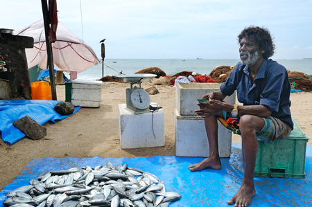 City Galle, Sri Lanka- November 22, 2016: Fisherman sell their catch at the fish market. Editorial only.