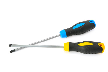 unscrewing: set of screwdrivers isolated on a white background