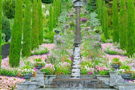 フラワー ガーデンや他の植物、階段とマイナウ島 (ドイツ、ボーデン湖) の滝