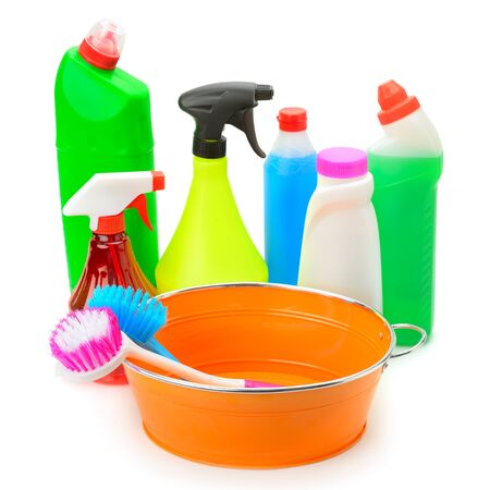 desinfectante: set of household chemicals, hand basin and brushes for cleaning isolated on white background