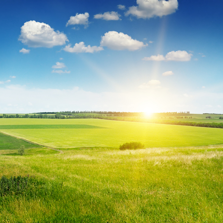 hilly terrain, spring field and sunrise on blue sky Stock Photo