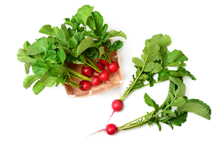Radish in a basket isolated on a white background