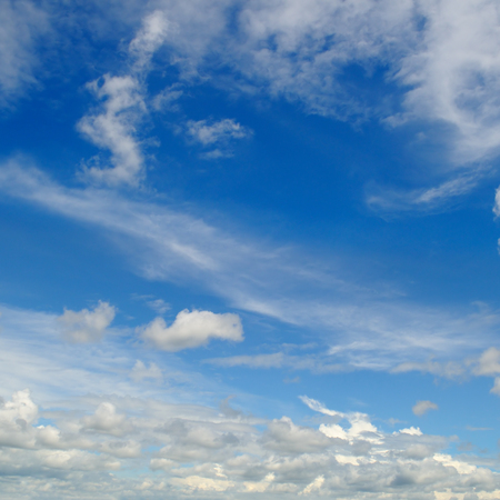 blue sky and white cumulus clouds Stock Photo