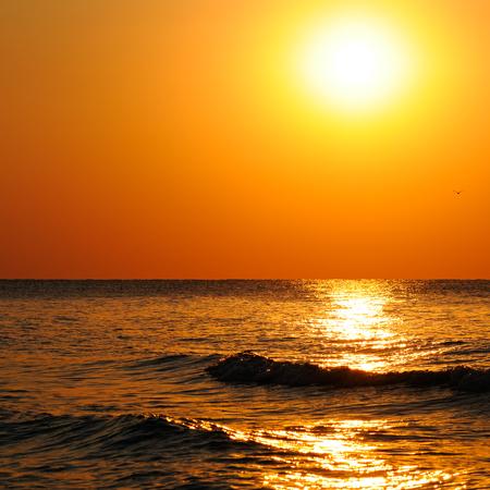 beach of the ocean and sun rise Stock Photo