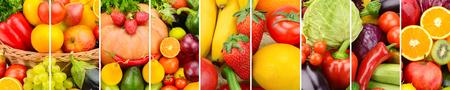 파노라마 컬렉션 신선한 과일과 야채 배경입니다. 콜라주. 와이드 사진.
