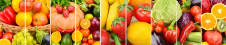 Panoramic collection fresh fruits and vegetables background. Collage. Wide photo . Stockfoto
