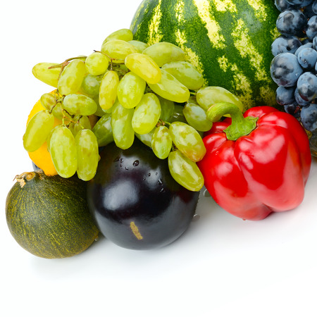 Set of fruit and vegetable isolated on white background. Free space for text. Stock Photo